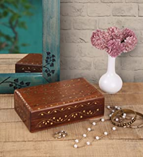 Storage Chest Handcrafted with Mughal-inspired Brass Inlays