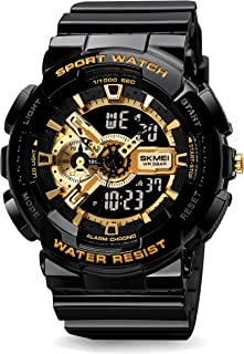 SKMEI Watches for Men- Water and Shock Resistant- 3D Dial Double Movement LED Screen Large Face Stopwatch Alarm Wrist Watch