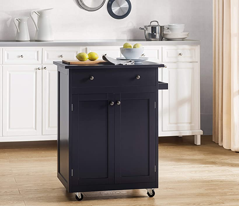 2L Lifestyle Newbury Wood Kitchen Cart, Small, Espresso