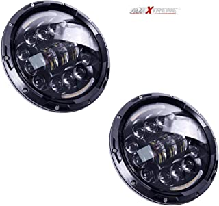 AllExtreme EX7ILH1 7 Inch Round LED Headlight with DRL White Halo Angle Eyes & Hi/Low Beam Yellow Turn Signal Lamp for Jeep Harley Davidson (75W, 1 PCS)