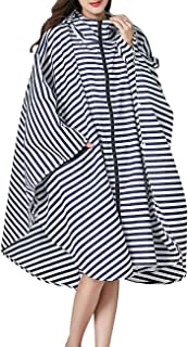 Womens Hooded Zip Up Waterproof Raincoats Lightweight Poncho with Pockets Outdoors