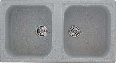 ZINZER Granite/Quartz Kitchen Sink : Double Bowl Granite - Grey Color