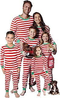 MEROKEETY Matching Family Christmas Pajamas Striped Contrast Color Boys Girls Cotton Sleepwear PJs