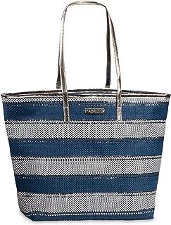 Korbtasche Bast Tasche Einkaufstasche Shopper Strandtasche große Damen Umhängetasche blau-weiß gestreift Lurex Silber