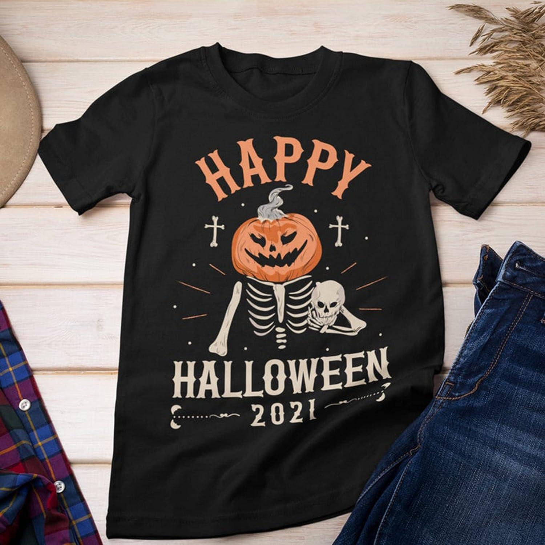 Happy Halloween 2021 Skull Pumpkin Graphic Autumn T-Shirt Masswerks Store
