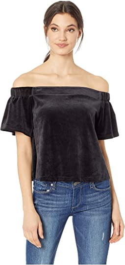 Track Lightweight Velour Off the Shoulder Top