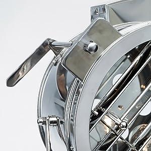 Lampe sur pied chromé cine au design industriel, trépied avec des jambes de bois, 1 ampoule e27 max. 60 w, hauteur 175 cm-diamètre : 45 cm gris métaL/lois