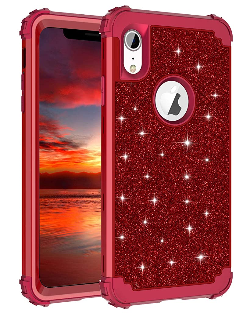 Lontect Compatible iPhone Xr 2018 Case Glitter Sparkle Bling Heavy Duty Hybrid Sturdy Armor Defender High Impact Shockproof Protective Cover Case for Apple iPhone Xr 6.1