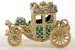 Keren Kopal Golden Green Chariot Trinket Box Faberge Style Home Decoration