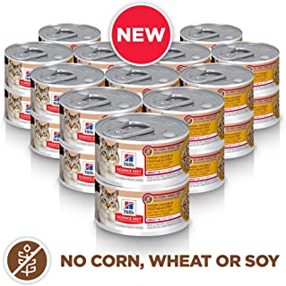 Hill`s Science Diet Canned Wet Cat Food, Adult, No Corn, Wheat or Soy Recipes, 2.9 oz Can, Pack of 24