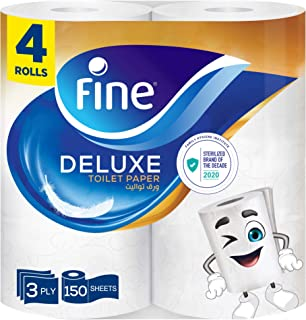Fine, Sterilized Toilet Paper, Deluxe, 150 sheets x3 Ply, pack of 4 rolls