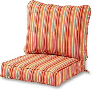 Greendale Home Fashions Deep Seat Cushion Set in Coastal Stripe, Watermelon