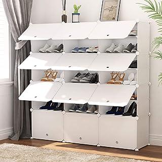 PREMAG Organisateur de Rangement pour Chaussures Portable, Blanc, étagère modulaire pour Gagner de la Place, étagères à Ch...
