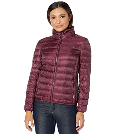 Tumi Hooded TumiPax Puffer Jacket Made from Recycled Materials (Cordovan) Women