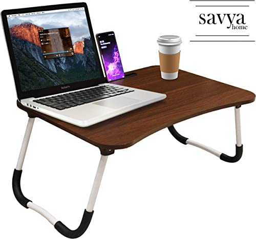 Savya home Multifunction Wooden Foldable Bed Table LA Standard Walnut
