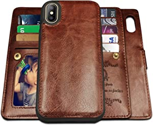 iPhone X Case,iPhone Xs Case Wallet with Magnetic Detachable Case,9 Card Slots,Wrist Strap, CASEOWL 2 in 1 Folio Flip Premium PU Leather Wallet Case for iPhone X/XS/10/10s 5.8 inch (Brown)