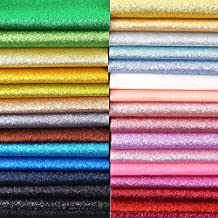 Caydo 30 Colors Glitter Faux Leather Sheets, Leather Sheets for Earring Making, Hair Clips Bows Making, 12.6 x 8.6 Inch