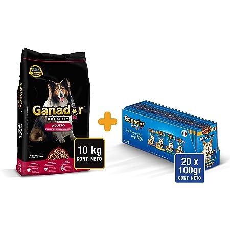 Ganador Premium Bundle: 1 Ganador Premium 10 kg, 22 Ganador Recetas de 100 g para Perros Adultos de Razas Medianas y Grandes, Negro/Azul
