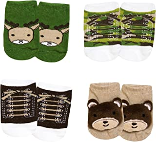 Baby Hunting and Camo Clothes Deer Layette 4 Piece Set and 4 Pairs of Socks Set 0-3, 3-6 Months