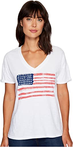 The Original Retro Brand - Painted American Flag V-Neck Slub Tee