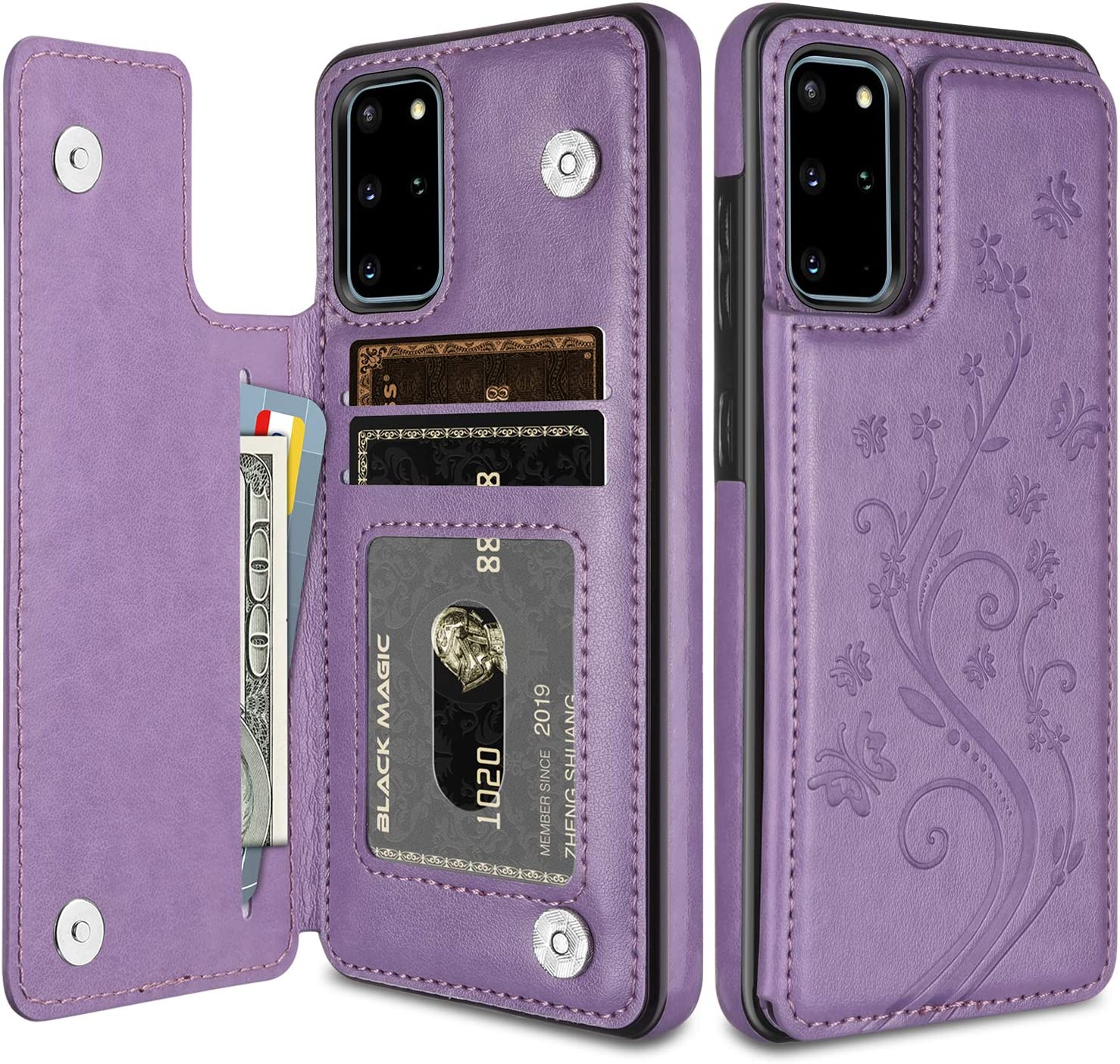 HianDier Wallet Case for Galaxy S20 Plus Slim Protective Case with Credit Card Slot Holder Flip Folio Soft PU Leather Magnetic Closure Cover for Samsung Galaxy S20+ Plus 6.7 Inch, Butterfly Purple