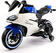 Street Racer 12V Battery Power Motorized Electric Kids Ride-On Motorcycle Bike + EVA Foam Rubber LED Wheels + Leather Seat + MP3 Music Player + Spring Shock Suspension + Training Wheels (Blue)