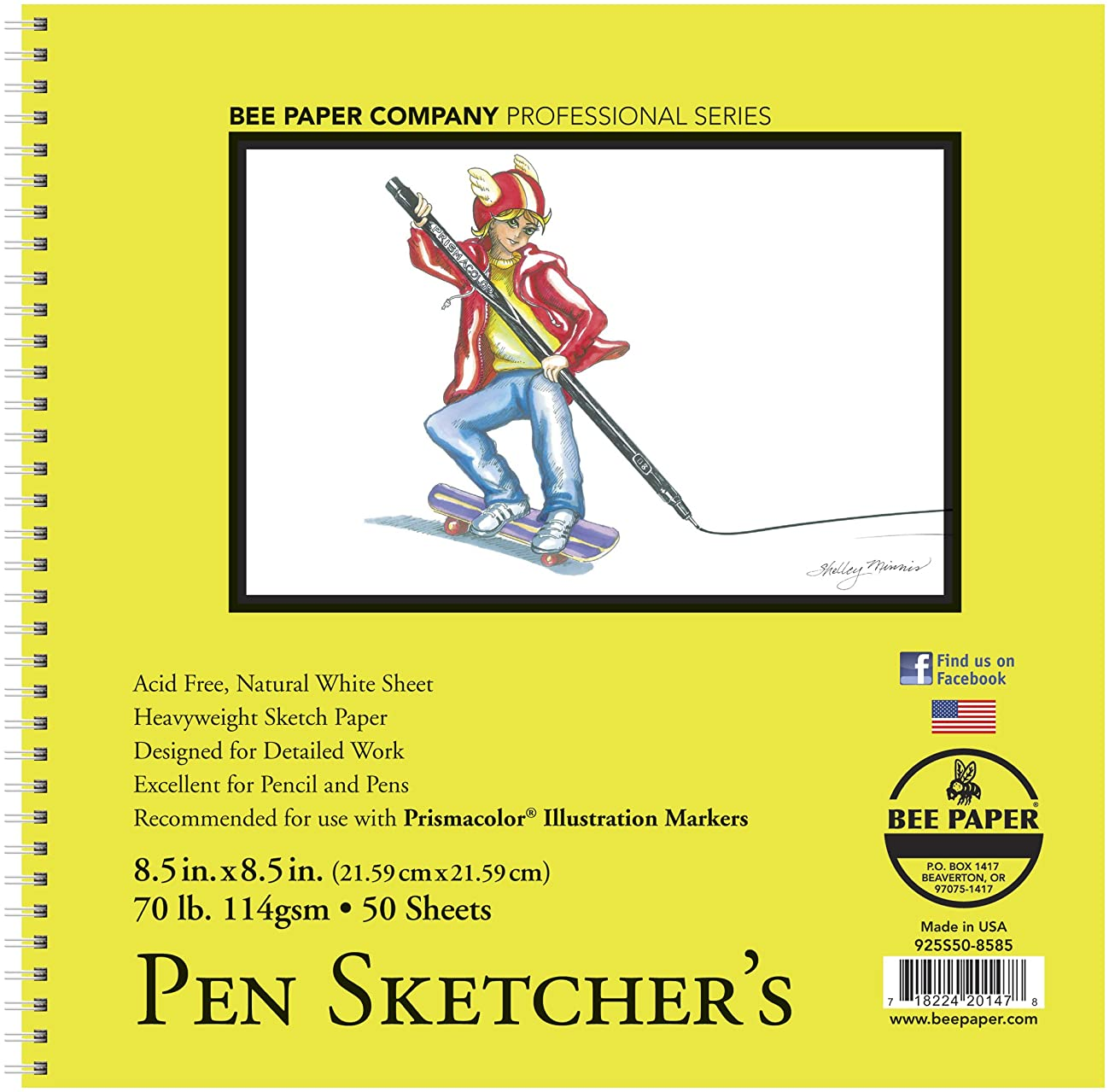 Bee Paper Company Pen Sketchers Pad, 8.5 by 8.5-Inch