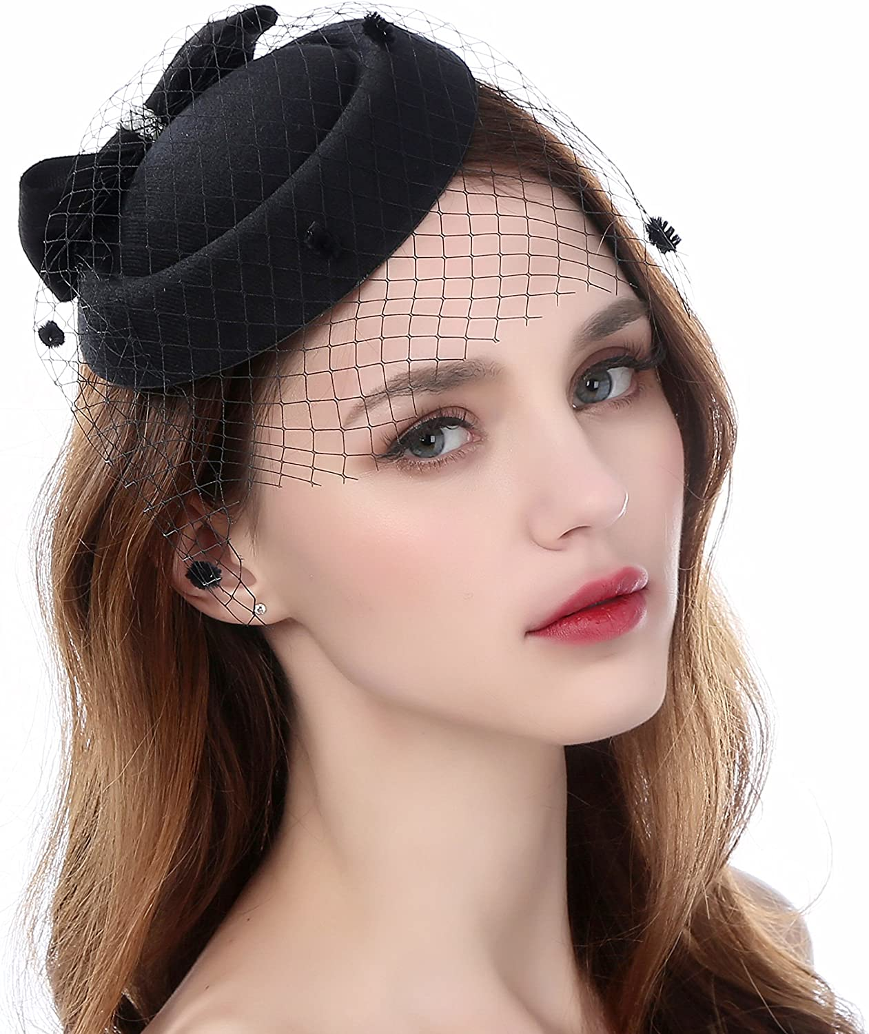 Dallas Mall Zivyes Fascinator Hats Free Shipping New for Women Pillbox Veil Hat Headband with