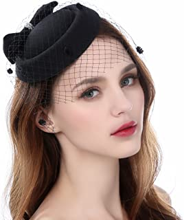 9303866e54bca Zivyes Fascinator Hats for Women Pillbox Hat with Veil Headband and a  Forked Clip Tea Party