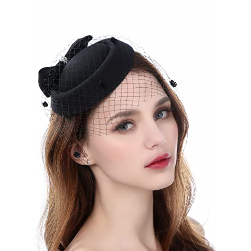 9df7b1b1322 Fascinator Pillbox Hats with Flower Veil Feather Hairclip Wedding Hats for  Women