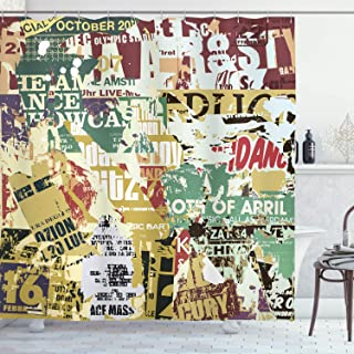 Ambesonne Retro Shower Curtain, Grunge Style Collage Print of Old Torn Posters Magazines Newspapers Paper Art Print, Cloth Fabric Bathroom Decor Set with Hooks, 70