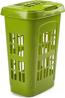 Panier à linge de 75 l avec couvercle en plastique style rotin (blanc et vert feuille)