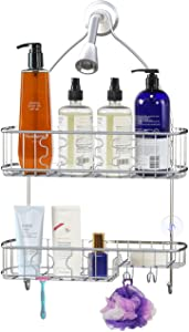 Simple Houseware Bathroom Hanging Shower Head Caddy Organizer, Chrome (26 x 16 x 5.5 inches)