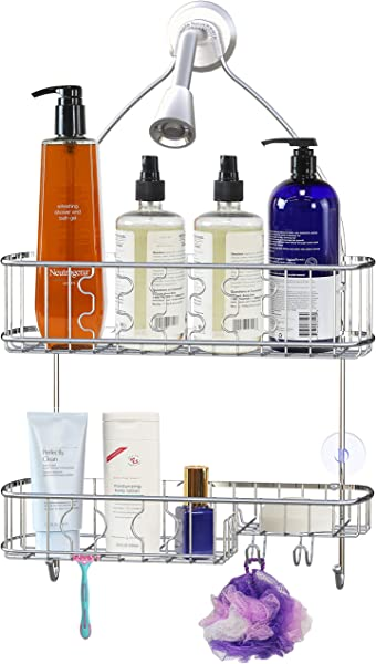 Simple Houseware Bathroom Hanging Shower Head Caddy Organizer Chrome 26 X 16 X 5 5 Inches