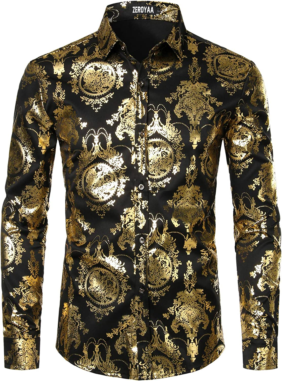 ZEROYAA Men's Luxury Baroque Shiny Design Slim Fit Long Sleeve Button up Dress Shirts