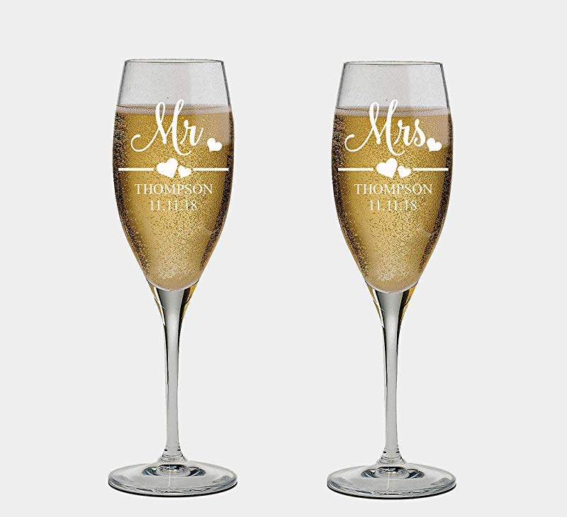 Mr And Mrs Wedding Toasting Champagne Flutes Set Of 2 Laser Engraved Tosting Flutes Engraved Personalized Glasses For Bride And Groom