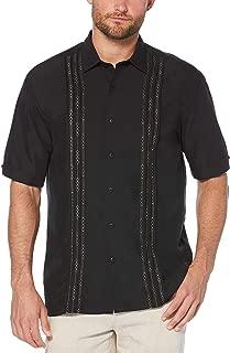 Men's Short Sleeve Cuban Camp Shirt with Contrast Insert Panels