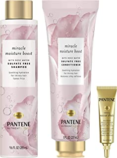 Pantene Shampoo & Conditioner + Rescue Shot Treatment, with Rose Water, Nutrient Blends Miracle Moisture Boost, Sulfate Free