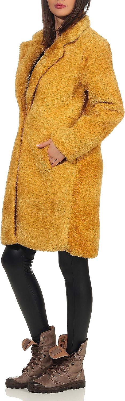 Malito Damen Winter Mantel   Fleecejacke mit Taschen   weiche Plüschjacke   Teddyjacke - Parka - Sherpa 1776 Dunkelgelb