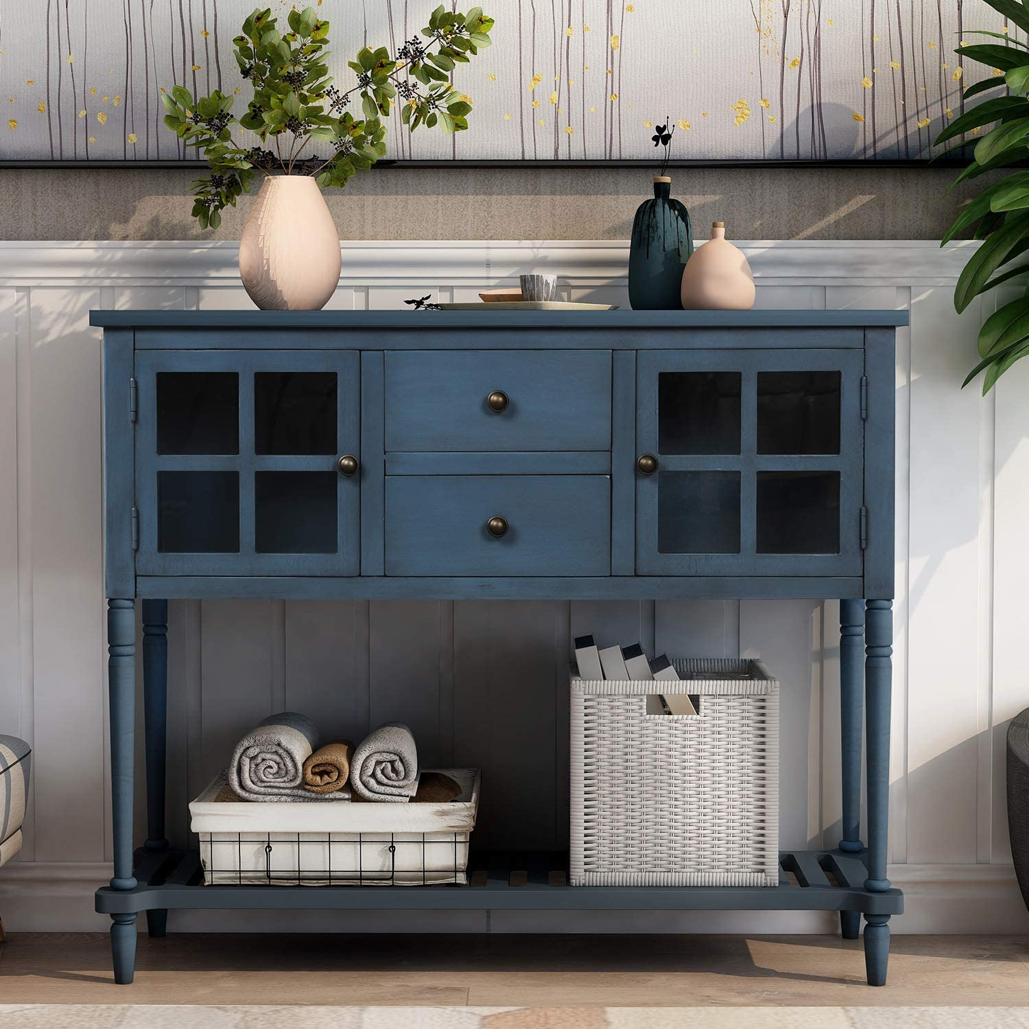 Knocbel 42 Inch Antique Console Table National products with Drawers Glass Doors Oakland Mall