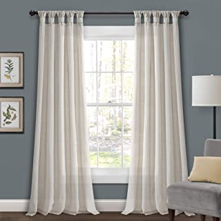 Lush Decor Burlap Knotted Tab Top Window Curtain Panel Pair, 95