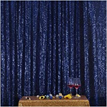 Poise3EHome 6FT x 8FT Sequin Photography Backdrop Curtain for Party Decoration, Navy Blue