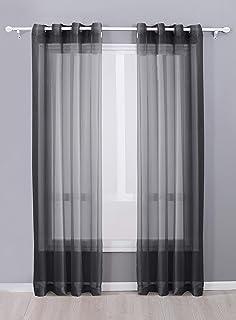 "Decotex 2 Piece Sheer Voile Grommet Top Window Curtain Panel Drapes (54"" X 120"", Black)"