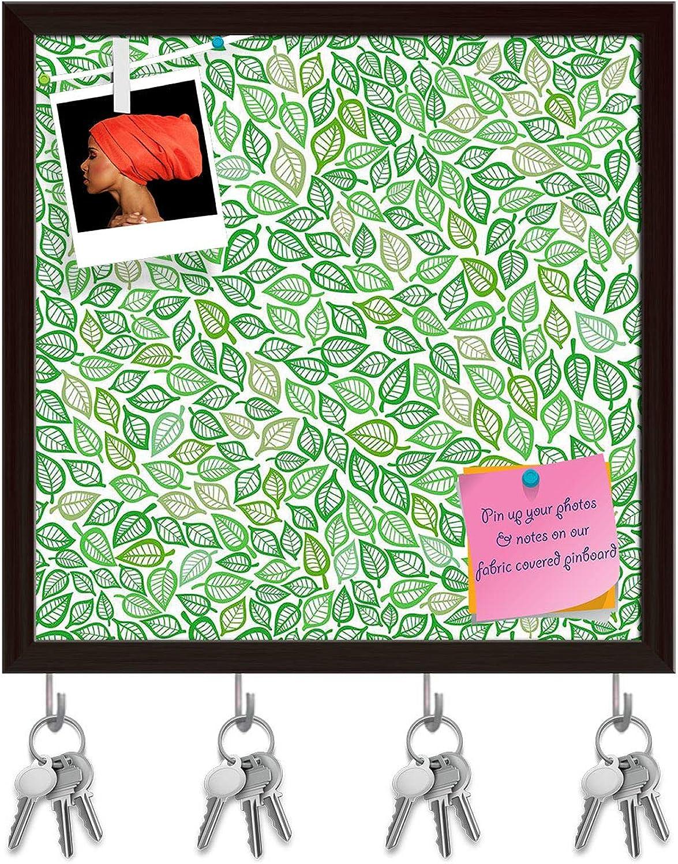 Artzfolio Artistic Leaf Key Holder Hooks   Notice Pin Board   Dark Brown Frame 20 X 20Inch