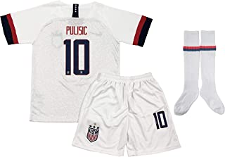 LoYu New 2019/2020 Christian Pulisic #10 USA Home Soccer Jersey Shorts & Socks for Kids/Youths