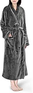 Premium Women Fleece Robe with Satin Trim | Luxurious Super Soft Plush Bathrobe