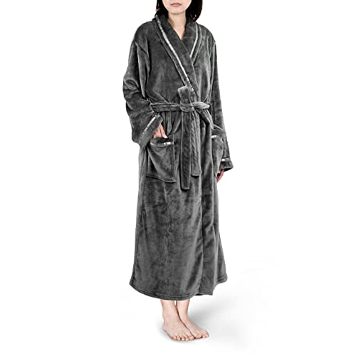 41087634d2 Premium Women Fleece Robe with Satin Trim