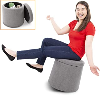 Stand Steady Wobble Ottoman by Joy - Gray Active Motion Rocking Stool with Compartment and 360 Degree Swivel - Storage Pouf with Removable Lid Great for Home, Office, Waiting Room, Nursery and More