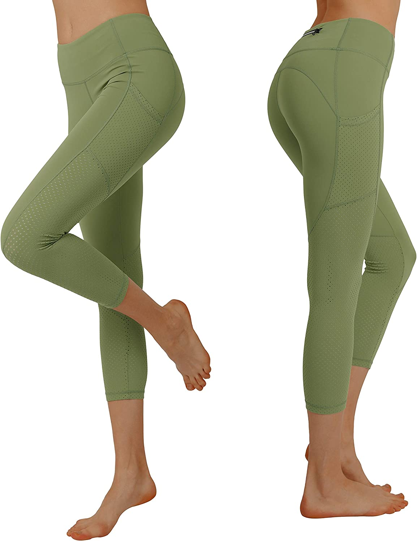 Cityoung Women's High Waist Power Flex Yoga Capri Legging Tummy Control Workout Running Pants with Pockets