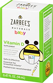 Zarbee's Naturals Baby Vitamin D Supplement, 0.47 Ounce Bottle